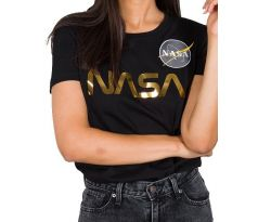Alpha Industries Dámske tričko Nasa PM T Wmn black/gold