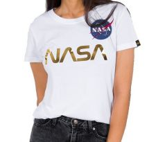 Alpha Industries Dámske tričko Nasa PM T Wmn white/gold