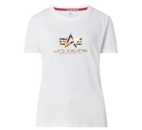Alpha Industries Dámske tričko New Basic T Hol.Print Wmn white/gold crystal